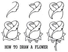 طريقة رسم وردة نصف مفتحة