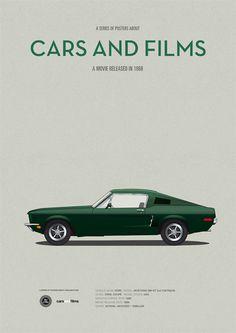 Affiche du film Bullitt voiture de film affiche A3 par CarsAndFilms  // Moyen