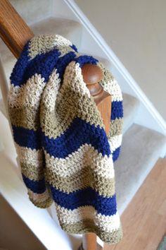 Chevron Crochet Baby Blanket, Navy, Beige, and Taupe