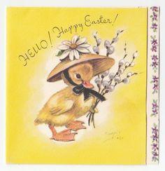 Vintage Greeting Card Easter Bonnet Hat Chick Duckling M Cooper Marjorie A399   eBay