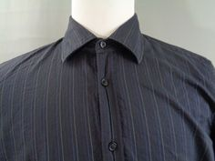 Mens Hugo Boss XL Shirt Black White Blue Vertical Stripe Button Front  | Clothing, Shoes & Accessories, Men's Clothing, Casual Shirts | eBay!