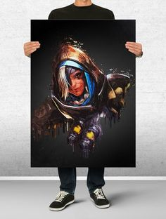Ana Overwatch Art Print Watercolor Wall Decor Game Print Poster Gift
