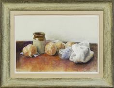 George Weissbort (1928-2013), Still life with onions & a terracotta pot (2004), watercolour on paper, 18.4 x 27 cm. Reproduction 1930s Parisian artist's ogee frame with painted finish