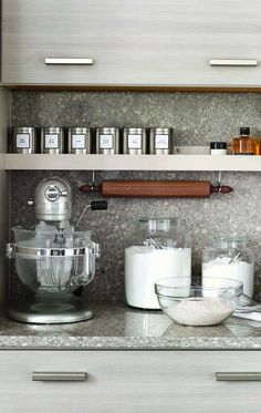 """When designing your kitchen, create storage for easy access to items you use every day.  Be sure to attend one of The Home Depot """"Ask the Expert"""" events 9/20 through 9/22 to learn all about the Martha Stewart Living line."""
