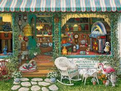 Antiques Etc a painting of an antique shop window and front yard of shop show antiques and collectibles from the 20's thru the 70's, part of Janet Kruskamp's Interior and Exterior Scenes Paintings Gallery of original oil paintngs by Janet Kruskamp.