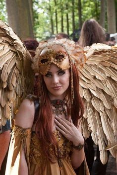 Golden wings and costume