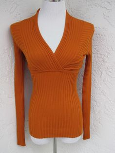 INC International Concepts sz S orange ribbed stretchy long sleeve sweater NEW