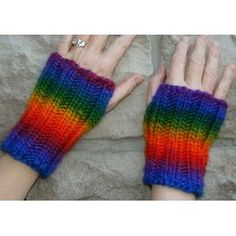 Fingerless Gloves knit in chunky self-striping yarn FREE knitting pattern in by Crystal Palace Yarns