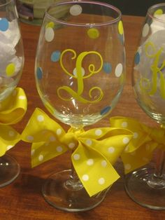 diy monogram wine glasses