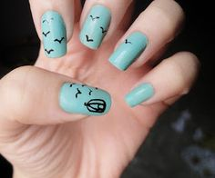 azul preto pássaro unhas nail