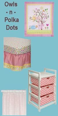 Baby girl nursery decorating in yellow and pink owls and polka dots