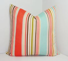 OUTDOOR Stripe Pillow Cover Blue Coral Tan Stripe by HomeLiving, $19.00