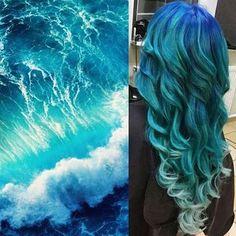 Hair by: Ocean Waterfall! Hair by: Pretty Hair Color, Hair Color Purple, Hair Dye Colors, Ocean Hair, Waterfall Hairstyle, Galaxy Hair, Fantasy Hair, Aesthetic Hair, Dye My Hair