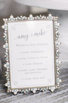 Sweet wedding timeline for guests to have an idea of the schedule for the day during the cocktail hour. Photo by Melanie Duerkopp Planning by Every Elegant Detail