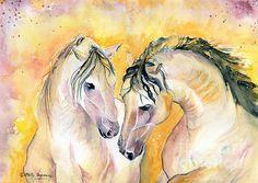 Beautiful pair of horses in watercolor!