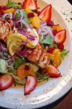 Recipe | 7 GREEN Salads with Summer Berries ~ e.g. Serve grilled shrimp skewers on a bed of mixed field greens. Add sliced red onions, strawberries, mandarin oranges, chopped red cabbage and dried cranberries. ... #healthy #side dish