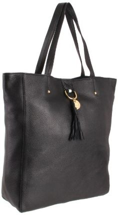 Tommy Hilfiger Tasseled Pebble North-South Tote,Black,One Size $228.00