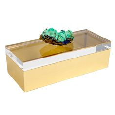 Mapleton Drive Acrylic Box with Azurite Crystal Specimen Crystal Box, Crystal Gifts, Onyx Box, Decorative Accessories, Decorative Boxes, Bridal Boxes, Black And White Marble, Acrylic Display, Wedding Ring Box
