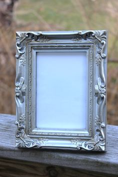 8ee6b4053387 Set of 6 VINTAGE STYLE FRAMES Ornate Silver Chrome Metallic Table Number Place  Card Menu Label Chalkboard or Photo Picture Frame 4x6
