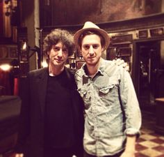 Neil Gaiman and Arthur Darvill, backstage at Once the Musical