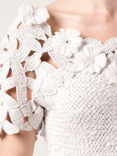 OSCAR DE LA RENTA Jewel Neck Crochet Top
