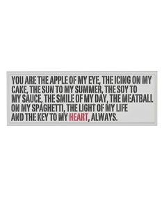 Take a look at this 'You Are the Apple' Sign on zulily today!