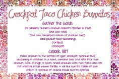 Crockpot Taco Chicken Burritos | let the awesomeness begin…
