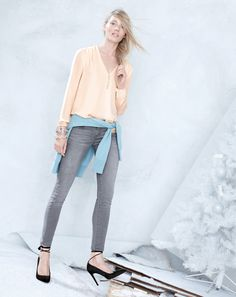 J.Crew silk Georgette blouse and toothpick jean in dolphin grey wash.