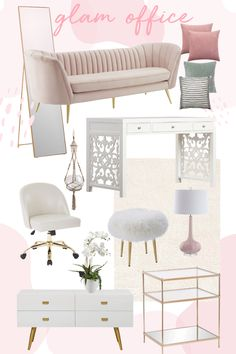 Christina Tarabishy from Oh So Glam shares a sneak peek at her home office: a feminine GLAM space with lots of pink, brass and boho touches! Chic Office Decor, Cozy Home Office, Home Office Space, Home Office Design, Feminine Office Decor, Ikea Office, Office Sofa, Office Spaces, Room Ideas Bedroom