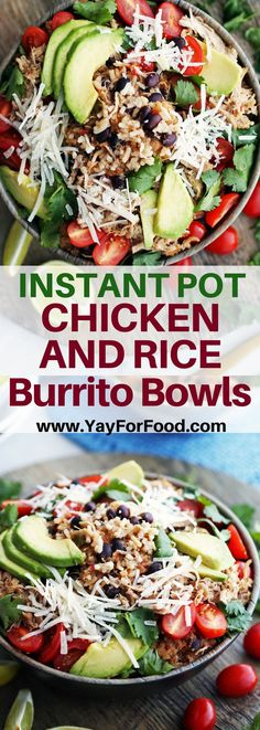 A delicious and flavourful gluten-free meal, Instant Pot Chicken and Rice Burrito Bowls are so quick to prepare! Perfect to serve the whole family or for meal prep! #yayforfood   #instantpot   #burritobowl   #dinnerrecipes   #mealprep   #chickenrecipes   #chickendinners   #easyrecipes   #rice   #instapot   #glutenfree