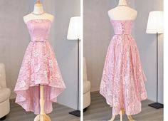 A line Prom Dresses, Pink A-line/Princess Prom Dresses, A line Long Prom Dresses, 2018 Homecoming Dress Beautiful Pink Lace Asymmetrical Short Prom Dress Party Dress Homecoming Dresses Long, Strapless Prom Dresses, High Low Prom Dresses, Prom Dresses For Sale, A Line Prom Dresses, Short Prom, Graduation Dresses, Semi Formal Dresses For Teens, Pink High Low Dress
