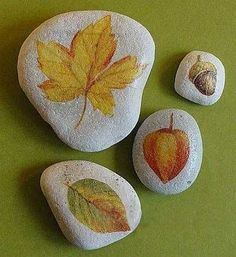 I'm going to try to take dried leaves and paint mod podge over the top of them onto rocks. You could do it with other stuff besides leaves.