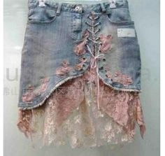 Upcycled Denim - ideas for a much longer skirt,. Diy Clothing, Sewing Clothes, Yoga Clothing, Jean Diy, Diy Kleidung, Diy Vetement, Denim Ideas, Denim Crafts, Recycle Jeans