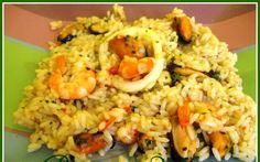 Calamari, Fried Rice, Grains, Paste, Meat, Ethnic Recipes, Food, Essen, Meals