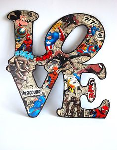 Comics book letters Love sign collage letter by MyLettersOnTheWall Letter Wall Art, Book Letters, Vintage Comic Books, Vintage Comics, Cardboard Letters, Collage Artists, Love Signs, Pop Art, Kids Room
