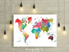 Purple watercolor map world map watercolor painting watercolor rainbow world map colorful watercolor art print watercolor birthday gift wedding gift world map poster world watercolor carte du monde gumiabroncs Choice Image