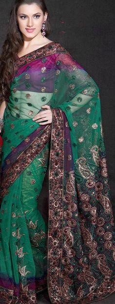 Good sari website!!! $66.36 Green Net Saree 20867 With Unstitched Blouse