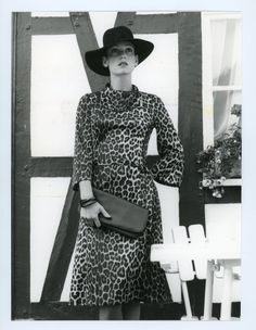 Vintage fashion photo - 1970s - womens fashion model - leopard print dress - black and white  photo by GRAINSofBrussels on Etsy