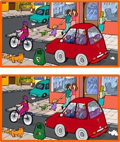 What differences do you see between these two images? Could be used as a Spanish speaking activity or Spanish writing activity. Teaching French, Teaching Spanish, Teaching English, Teaching Kids, Find The Difference Pictures, Spot The Difference Kids, Spanish Phrases, How To Speak Spanish, Writing Activities
