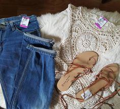 Saturday Savers finds :) Found a crochet boho topa pair of Japanese boyfriend jeans and a pair of ankle tie sandals! ##savers_thrift #saversfind #savers #saversthriftstore #findthefind #boho #bohostyle #crochettop #hintofmint #boyfriendjeans #jackey #ankletiesandals #andresmachada#thrifting #thriftfinds #thriftstore by thrill_of_thrift