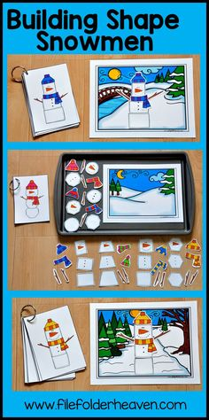 "This Building Shape Snowmen Cookie Sheet Activity Set is a includes three winter backgrounds, 8 snowmen example cards, and 8 sets of pieces to build 8 different shape snowmen.  In this activity, students look at a model and build a snowman, by choosing the same shapes.  This activity can be completed as a cookie sheet activity or center or as a ""cut and glue, activity."""