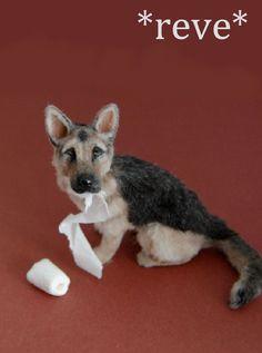 Miniature German Shepherd Dog Sculpture by ReveMiniatures.deviantart.com on @deviantART