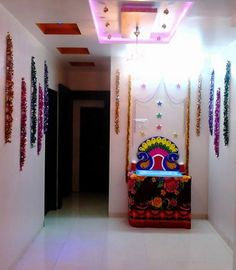Ganpati Decoration Ideas At Home Pooja Room Designs Pinterest Feathers Home And Lights