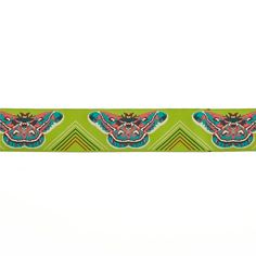 "1 1/2"" Anna Maria Horner Green Moths Ribbon Lime Green from @fabricdotcom  Designed by Anna Maria Horner, this decorative woven ribbon is perfect for apparel trim, home décor trim, quilt trim and crafts!"