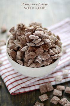 Brownie Batter Muddy Buddies! Yummy dessert, snack, or treat.