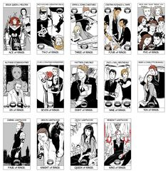 Tarot Deck Part 3/6: All the Ring cards of the Minor Arcana portion of the Tarot Deck done by Cassandra Jean featuring characters from Cassandra Clare's books. ( TMI, TID, TDA, and TLH) WARNING: Spoilers in cards