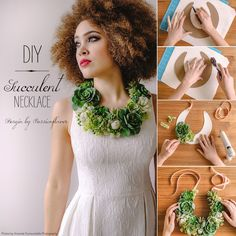 Learn how to make your own succulent necklace with this simple DIY and artificial succulents from afloral.com. #diy Design by Passionflower Photos by Amanda Dumouchelle Photography