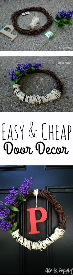 Here is a super simple way to make your door POP while adding a touch of personalization. This country chic, cheap & easy door decor literally cost me $4 and some change. We will go with $5 for good measure. I purchased all of the supplies at the Dollar Store down the street and couldn't be happier with the way this turned out.