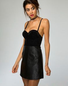 Hot up any outfit with the Lanti bodice - the perfect base layer. We're all about the velvet right now and with a black and white polkadot this is one not to be missed!