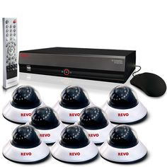 $999.99 - Revo R164D8E-4T 16-Channel 4TB DVR #Surveillance System with 8 600TVL 80-Feet #NightVision #DomeCameras